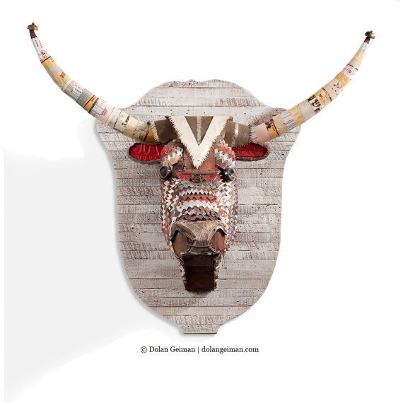 Faux Taxidermy Bull Head, Salvaged Metal Wall Sculpture, Antlers on Wood Trophy, Made to Order