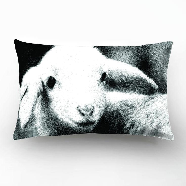 Wildlife Sheep photographic Design, Black&White Decorative Pillow Cover,