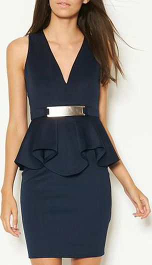 Sleeveless V Neck Navy Peplum Dress