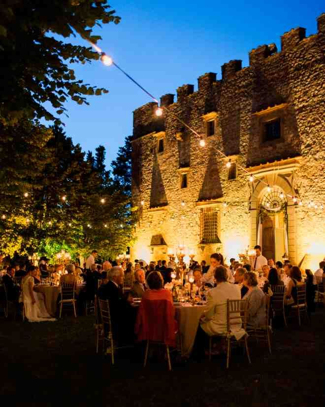 As the sun began to set, the garden was illuminated with hanging string lights and scattered lanterns.