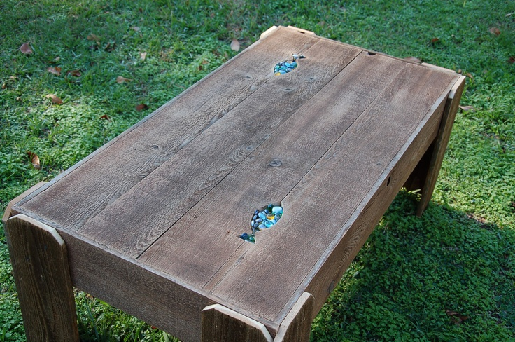 Large Coffee Table. FISH Table Lake House Decorations. Beach House Table. Rock accents.  Reclaimed Wood Furniture. Cabin Decor. $500.00, via Etsy.