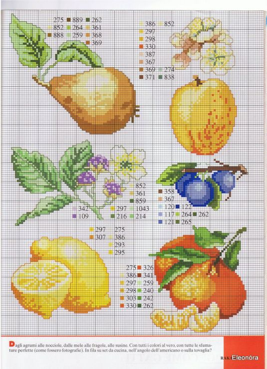 cross stitch pears lemons oranges plums