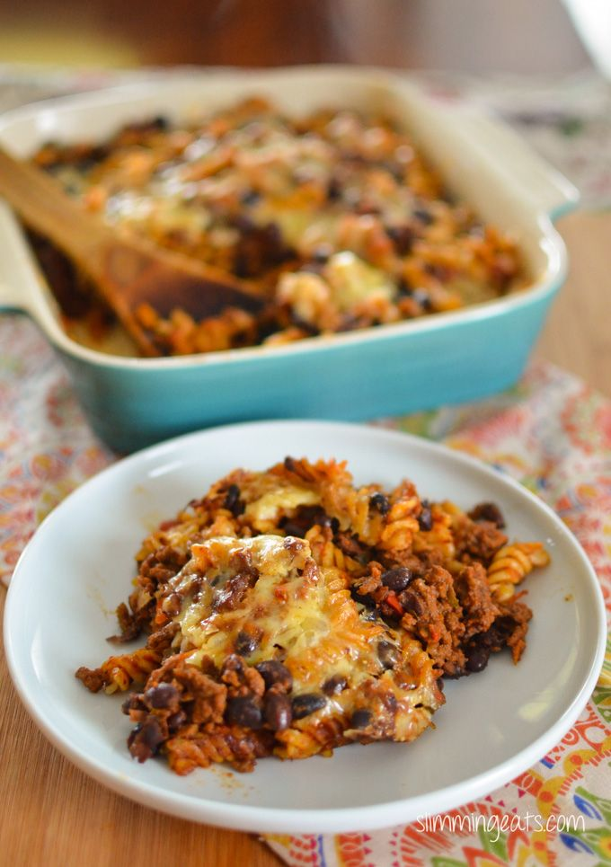 Slimming Eats Mexican Pasta Bake - gluten free, vegetarian, Slimming World and Weight Watchers friendly