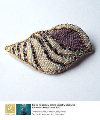 koralikowe fantazje Noiree: Spinka do włosów Shell - nowa forma do kolekcji - made from Toho beads and crystal tape #embroidery #beads