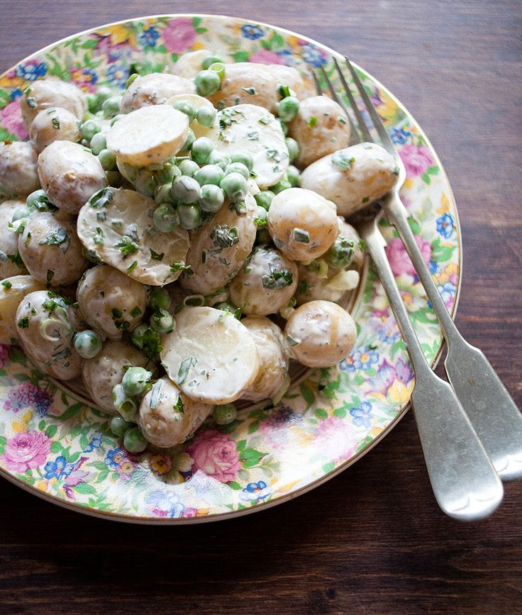 New Potato, Pea & Spring Onion Salad with Herb Creme Fraiche Dressing