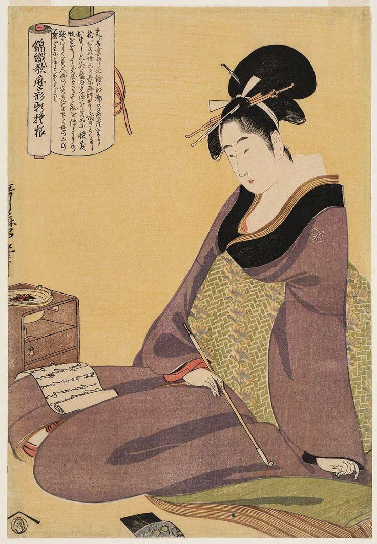 Pictures by Utamaro | ... Utamaro Style (Nishiki-ori Utamaro-gata shin-moyô) - Museum of Fine