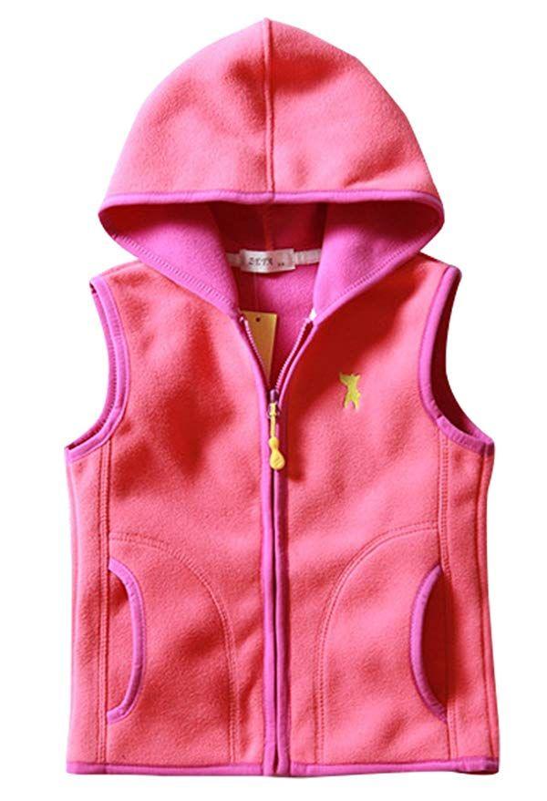 9a859ca285f4 Baby Girls Fleece Waistcoat Zipper Up Hooded Sleeveless Jacket Hand ...