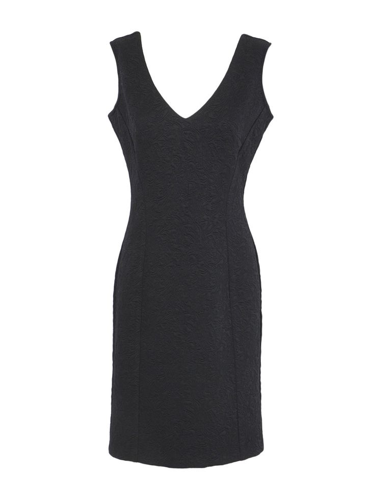 Little black dress with special embossed fabric.