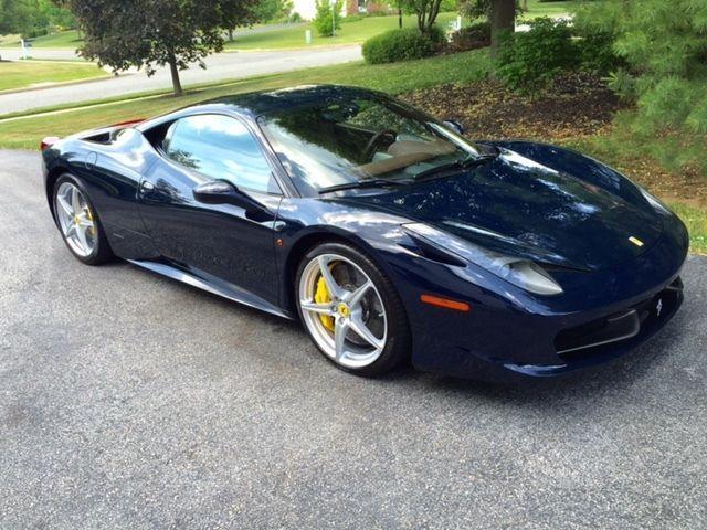 "Car brand auctioned:Ferrari 458 Ferrari 458 Italia "" Stunning Blu Pozzi ""FCA platino award winner"