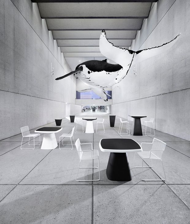 Derlot Editions - Kono is modular collection of tables and planters in recyclable LDPE ideal for outdoors or office breakout areas. The range is configured from standard components that fix together to create a variety of heights and surface sizes. Standard colours are black and white.