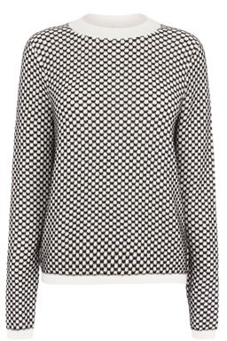 This monochrome jumper features a high neck, long sleeves and all-over knitted check design. Length of top, from shoulder seam to hem, 60cm approx. Height of model shown: 5ft 10 inches/178cm. Model wears: UK size 10.Fabric:Main: 100.0% Cotton.Wash care:Machine WashProduct code: 02306376 £38.00  #WAREHOUSEWISHLIST