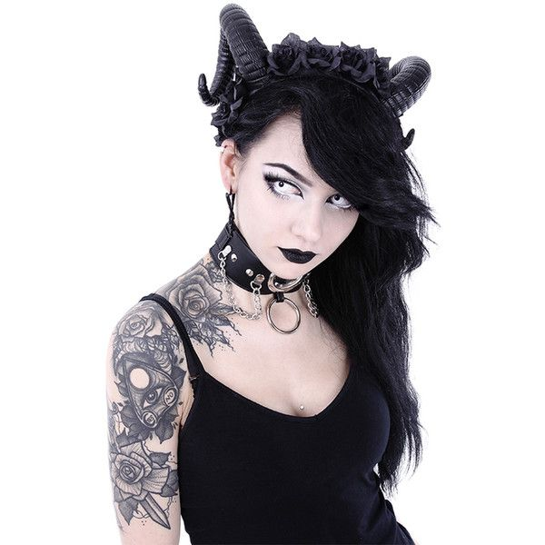 Sinister Horns with Roses Headband by Restyle ($33) ❤ liked on Polyvore featuring accessories, hair accessories, rose headband, gothic hair accessories, head wrap headbands, goth hair accessories and head wrap hair accessories