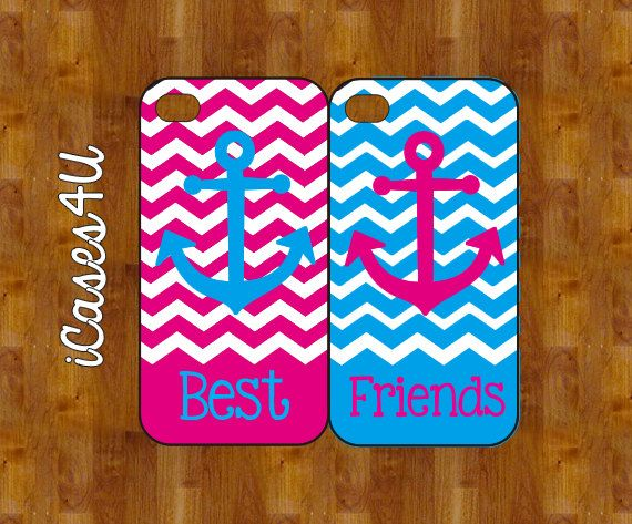 BFF iPhone cases - Personalized iPhone case - iPhone 4s case - iPhone 5 case - plastic or rubber - Anchor iPhone case on Etsy, $24.99 @Ashlynn Kinnett @Mariah W these would be y'all's perfect matching cases!