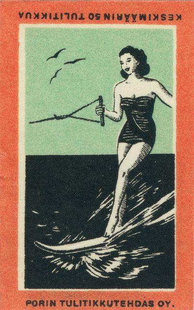 Vintage Finnish matchbox label
