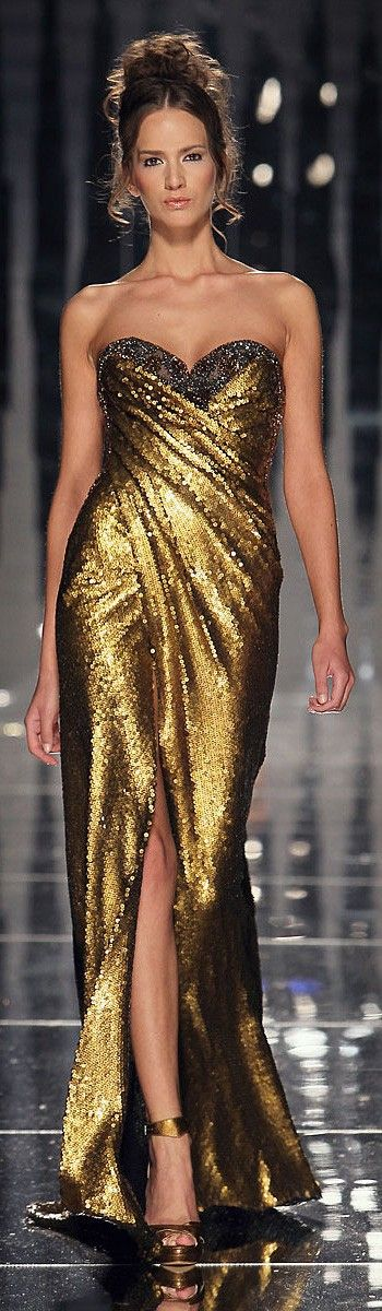 Abed Mahfouz - gold spangle wrap around gown, with fitted bodice, sleeveless…