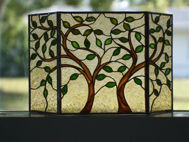 Stained Glass Fireplace Screen - Leaves & Trees