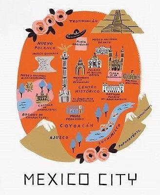 "R Paper Co. - Mexico City - Art Print - 11""x 10.3"" - Map Print                                                                                                                                                                                 More"
