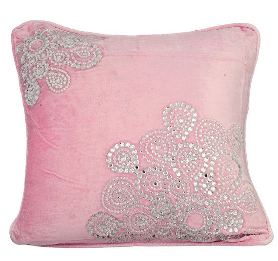 Crystal Fun - 16 x 16 Crystal Embroidered Pink Velvet Pillow.