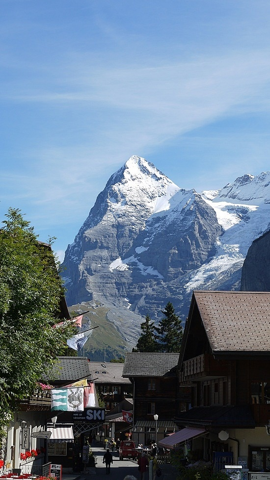 Murren a beautiful village in the Alps of Switzerland that is inaccessible by road. It is over a mile above sea level, has no cars, and is a huge tourist destination.