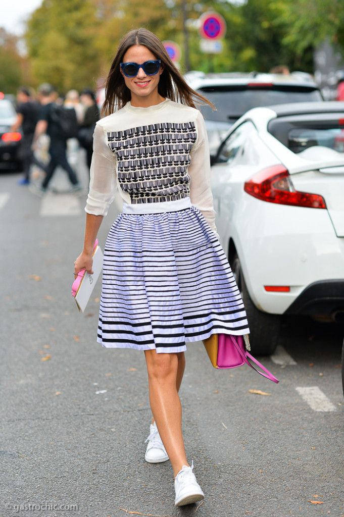 skirt & kicks. Zina in Paris. #Fashionvibe