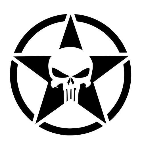 "Jeep Wrangler Star Skull 4"" Decal Vinyl Sticker for Car Windows, Trucks, Hood, Laptops, Gear, etc."