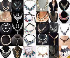 Fashion Jewelry Chunky Crystal Chain Pendant Women Choker Statement Bib Necklace