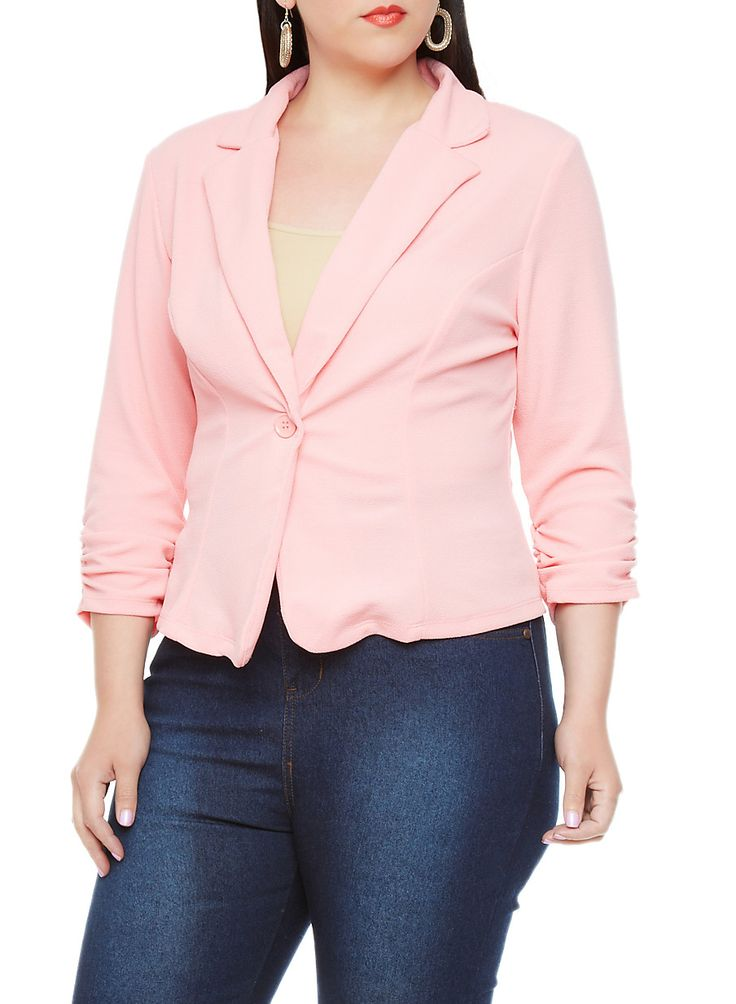 Rainbow Shops Plus Size Solid Blazer with Ruched Three Quarter Sleeves $22.99