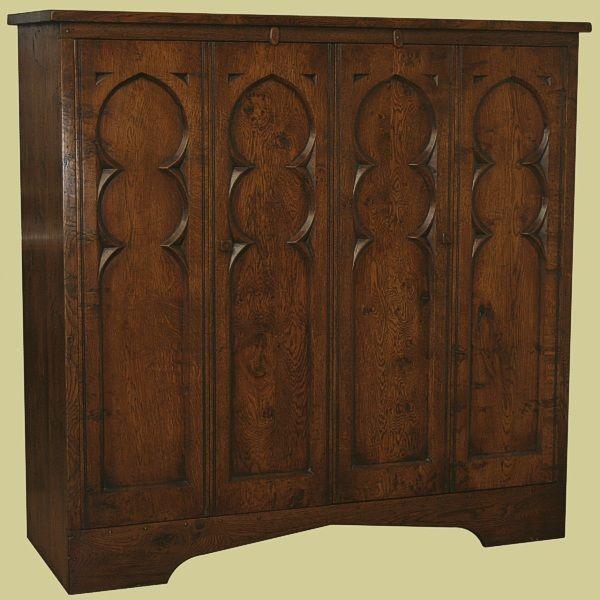 TV Cupboard In Solid Oak Tudor Style. English Handmade And Based On A  Century Oak Hutch.