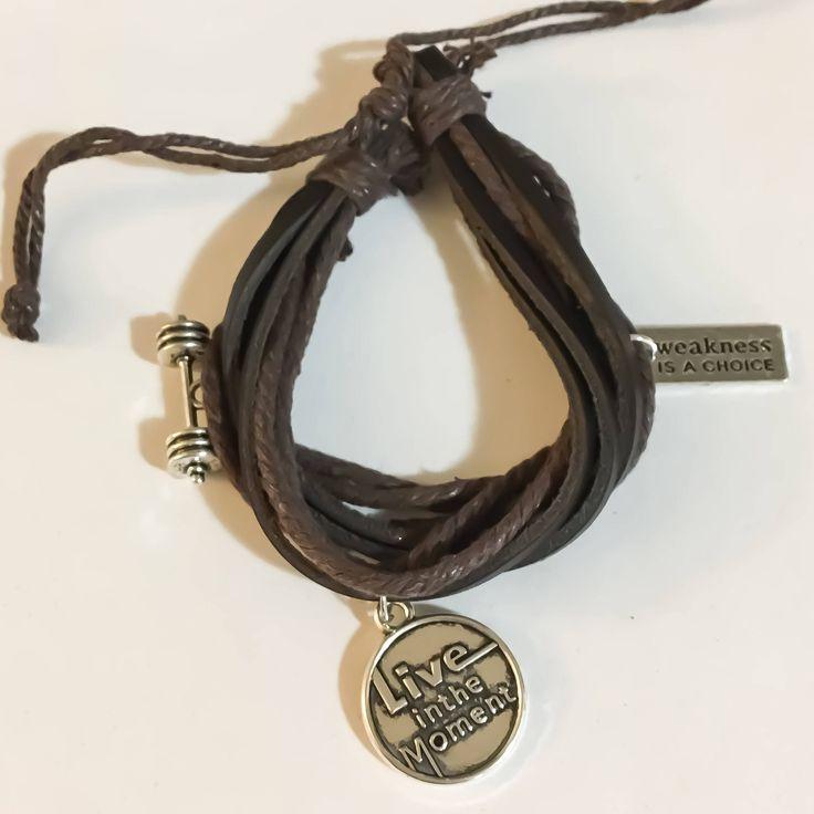 Layered Leather Bracelet, Charm Bracelet, Wrap Bracelet, Fitness Jewelry, Gift Ideas, Motivation, Gym Jewelry, Barbell, Weakness is a Choice by MissFitBoutiqueCA on Etsy https://www.etsy.com/ca/listing/561118042/layered-leather-bracelet-charm-bracelet