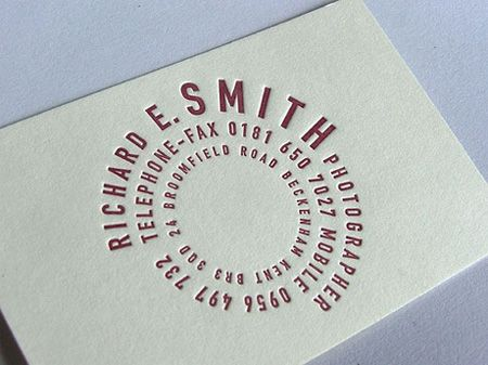 Like the way the letters form a lens for this photographer business card.