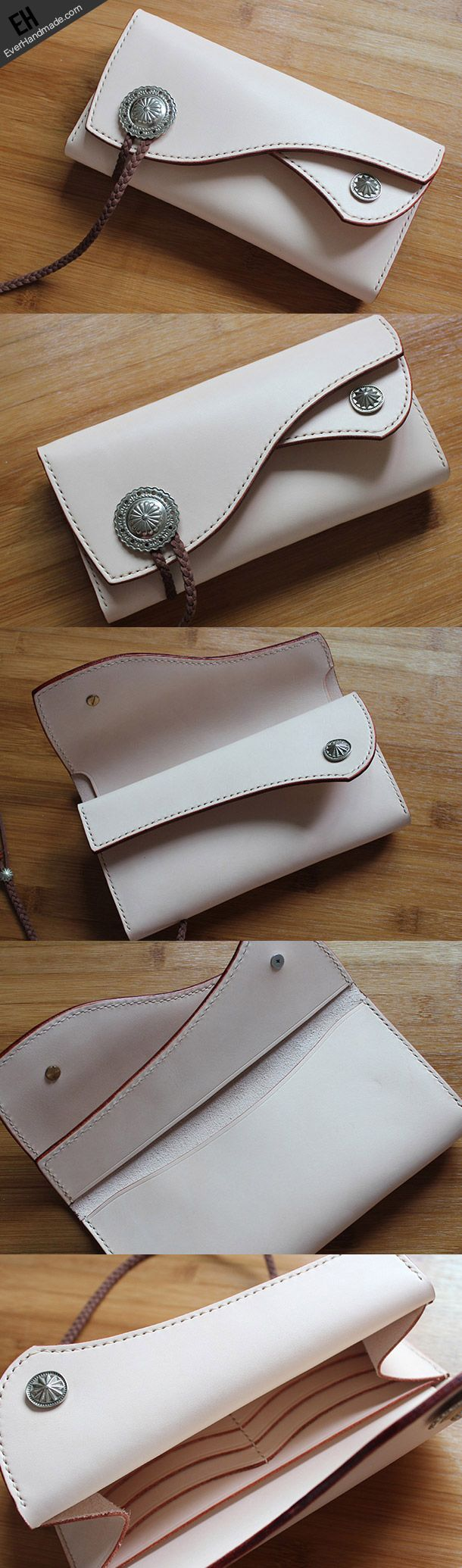 Handmade custom vintage purses leather wallets long phones wallets blue women