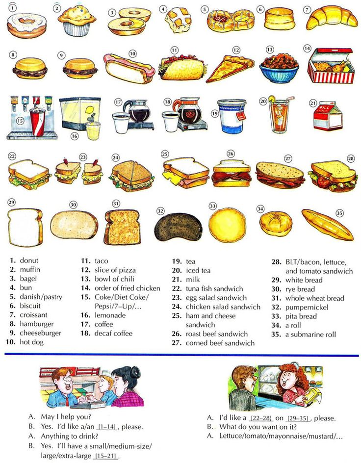 Fast  food and sandwiches English lesson
