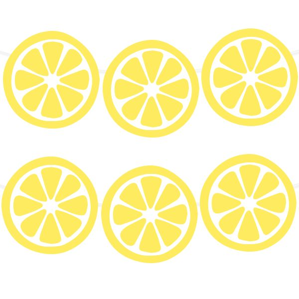Free Printable Lemon Party Garland from printablepartydecor.com