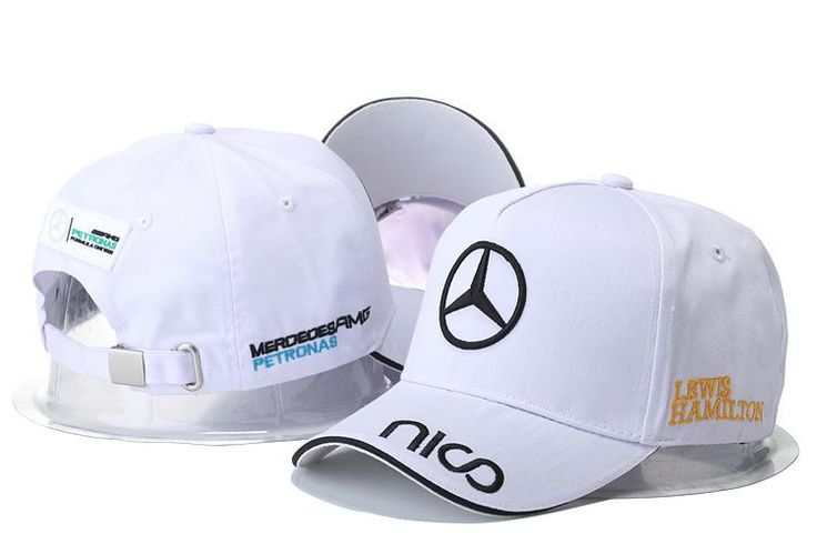 Mens / Womens Unisex Mercedes Benz AMG PETRONAS F1 LEWIS HAMILTON Baseball Adjustable CAP - White / Black