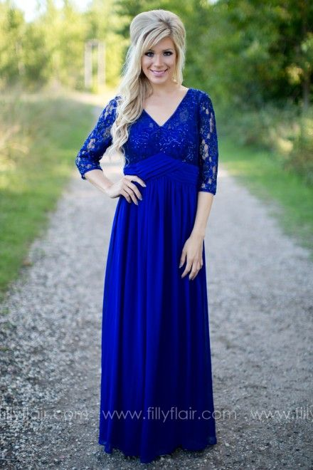 A beautiful royal blue bridesmaid dress with sleeves! #modest