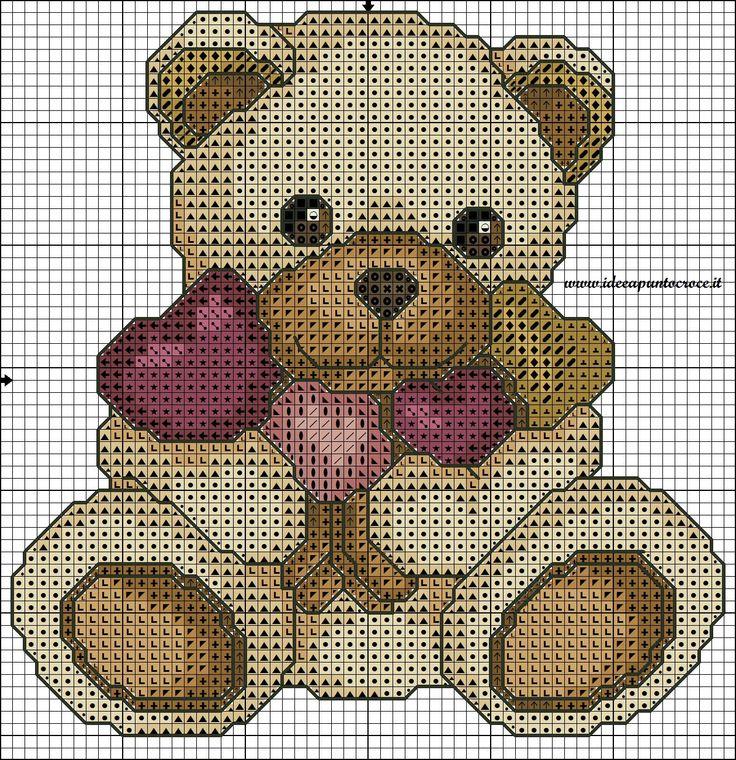 SCHEMA TEDDY THUN CUORE PUNTO CROCE baby animali orso