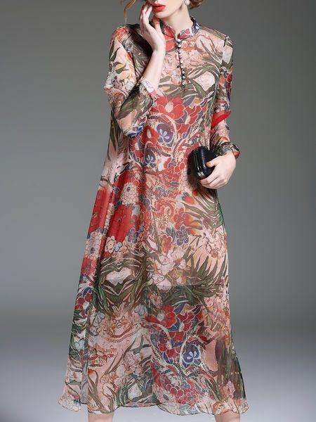 Floral-print Silk Midi Dress