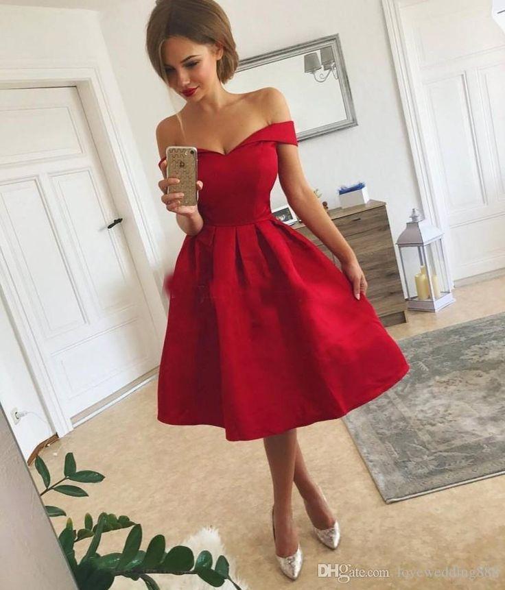Günstige Einfache Rote Kurze Ballkleider Satin Rüschen Schulterfrei Knielangen Heimkehr Party Kleid Nach Maß Abendkleider