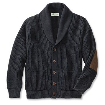 It's the sweater that conjures up images of crackling fires and snifters of fine cognac. Knitted from a wool/nylon blend for premium warmth and long-wearing durability, this classic button-front shawl cardigan sweater for men is tailored with two lower patch pockets and detailed with faux-sueded elbow patches for a distinctive touch. Wool/nylon. Washable. Made in USA.  Sizes: M(38-40), L(42-44), XL(46-48), XXL(50-52). $180