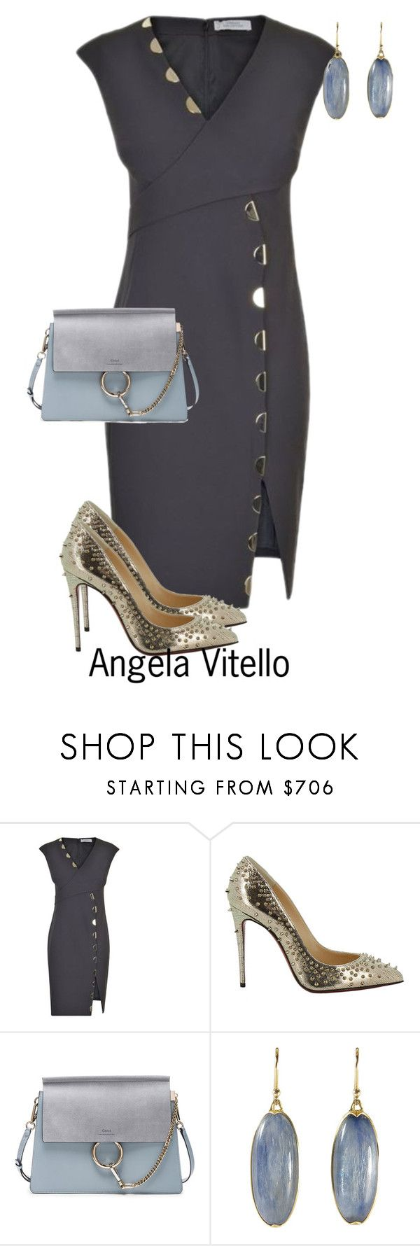"""""""Untitled #967"""" by angela-vitello on Polyvore featuring Versace, Christian Loubo…"""
