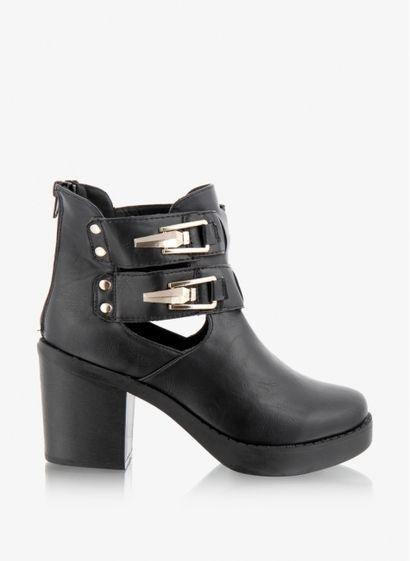 Jenny Buckle Block Heel Ankle Boot - botki czarny DeeZee
