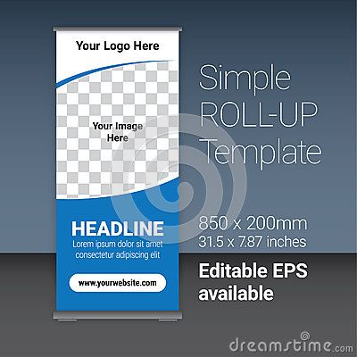 Simple blue roll-up template for your business, with editable EPS vector file as additional format.