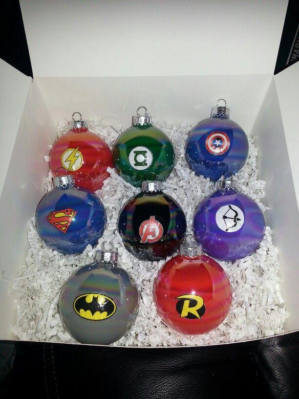 My DIY superhero ornaments! Flash, Green Lantern, Captain America ...