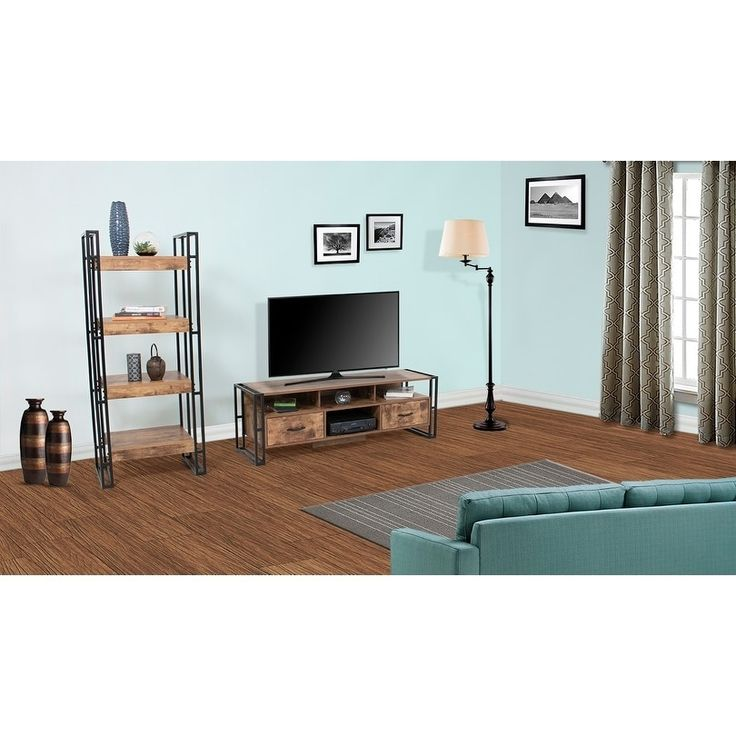 Country Line Wood Finish Rustic TV Stand with Media Storage Shelf, Brown
