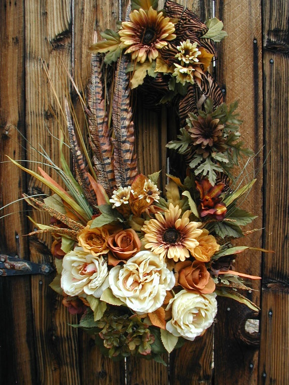 Fall Autumn Thanksgiving Oval Cream Copper Rust by PetalsNPicks, $139.00