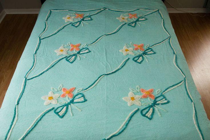 "Vintage Chenille Bedspread, Flowers & Bows, Teal Blue Floral Bedding, 101"" x 90"""