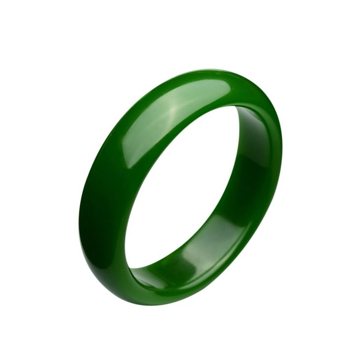 Parma77 Polished Fashion Green Nephrite Jade Bangle Spinach Green Wide Bracelet for Mother's Day Christmas (Large):