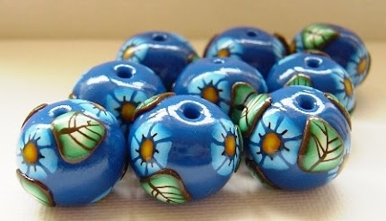 Blue Flower polymer clay beads.