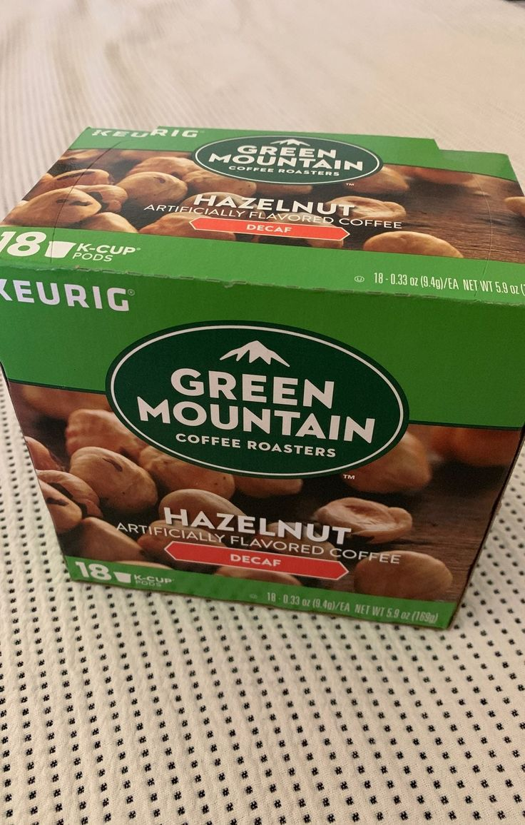 Green mountain hazelnut decaf coffee 16 pods used two for