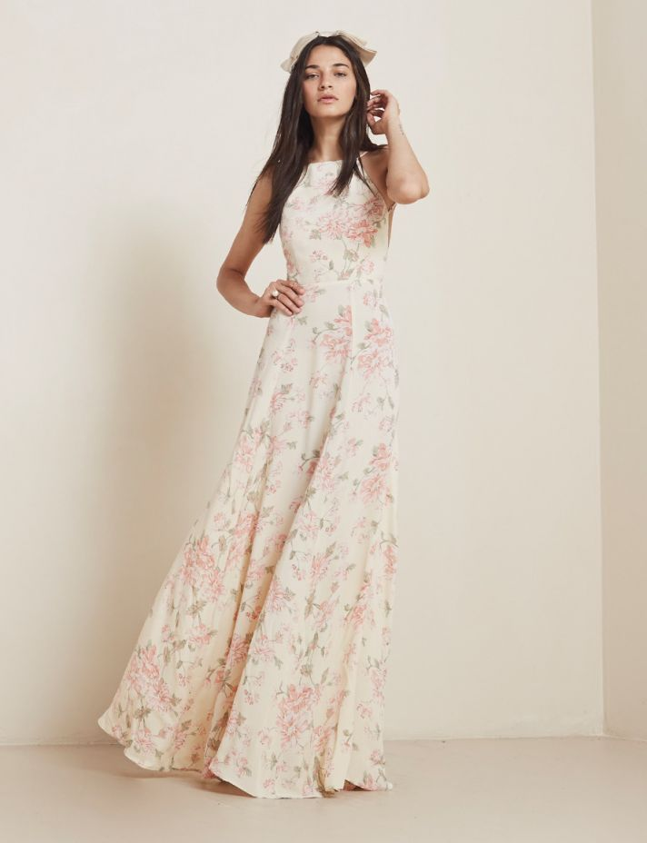 Love the romantic print on this long bridesmaid dress from The Reformation